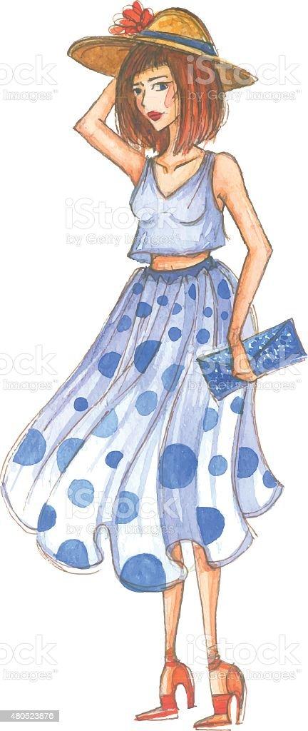 Watercolor fashion girl vector art illustration