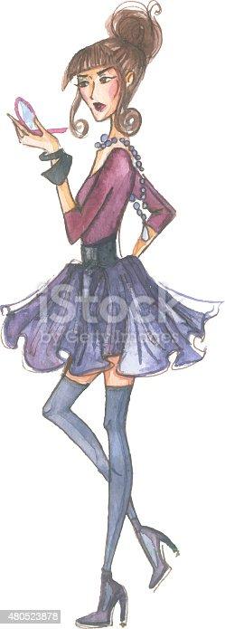 181894581 istock photo Watercolor fashion girl 480523878