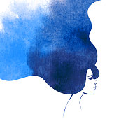 Watercolor Fashion Woman with Long Hair. Vector Illustration. Beautiful Mermaid Face. Girl Silhouette. Cosmetics. Beauty. Health and spa. Fashion themes.