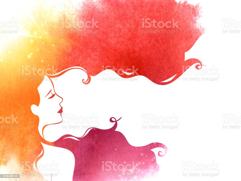 Watercolor Fashion Woman with Long Hair vector art illustration