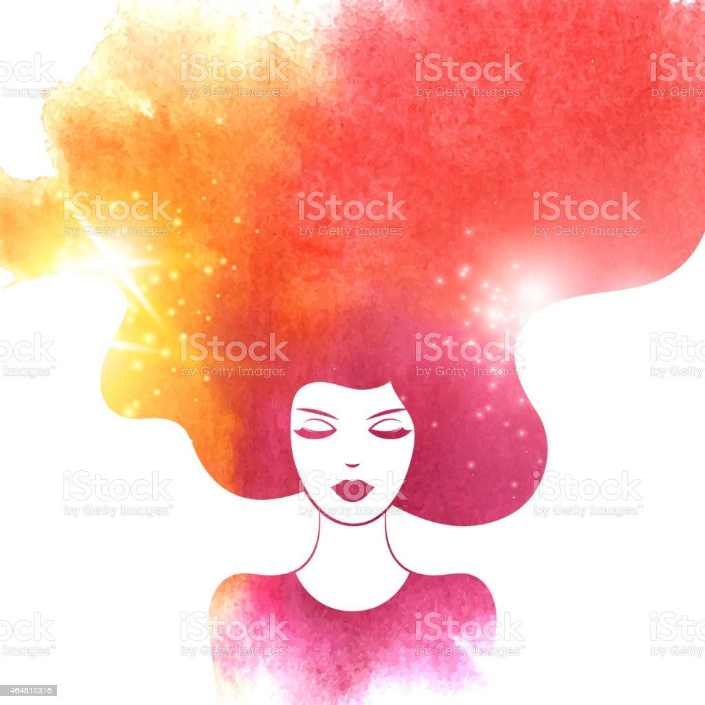Watercolor Fashion Woman with Long Hair. Vector Illustration. vector art illustration