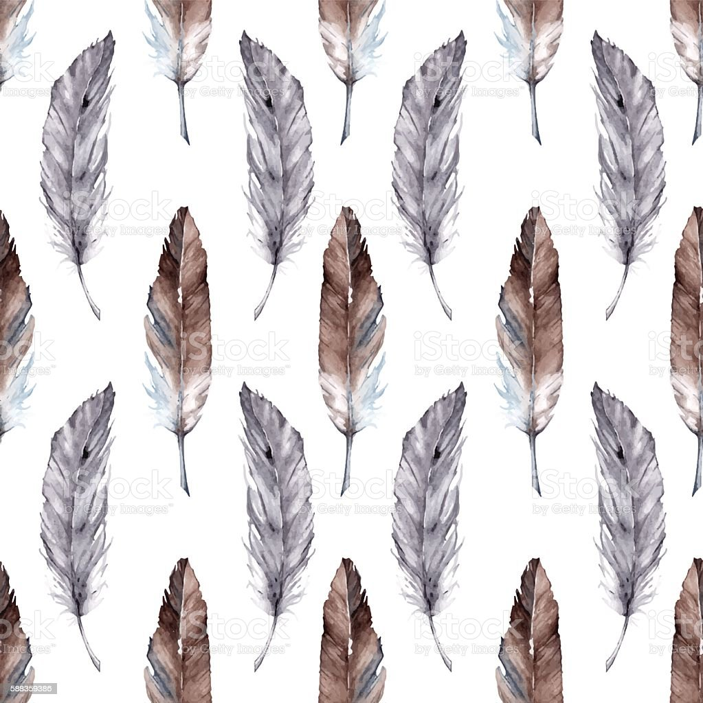 Watercolor feather ethnic boho seamless pattern background vector vector art illustration