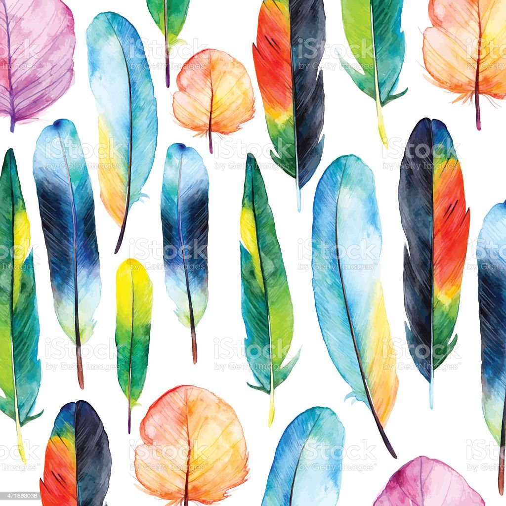 Watercolor feathers set. Hand drawn vector illustration with colorful feathers.
