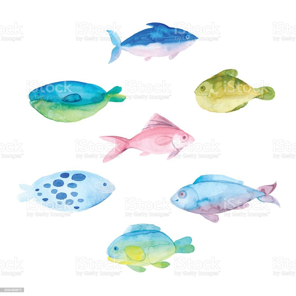 Watercolor fishes on a white background. vector art illustration