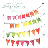 Watercolor flags garlands set