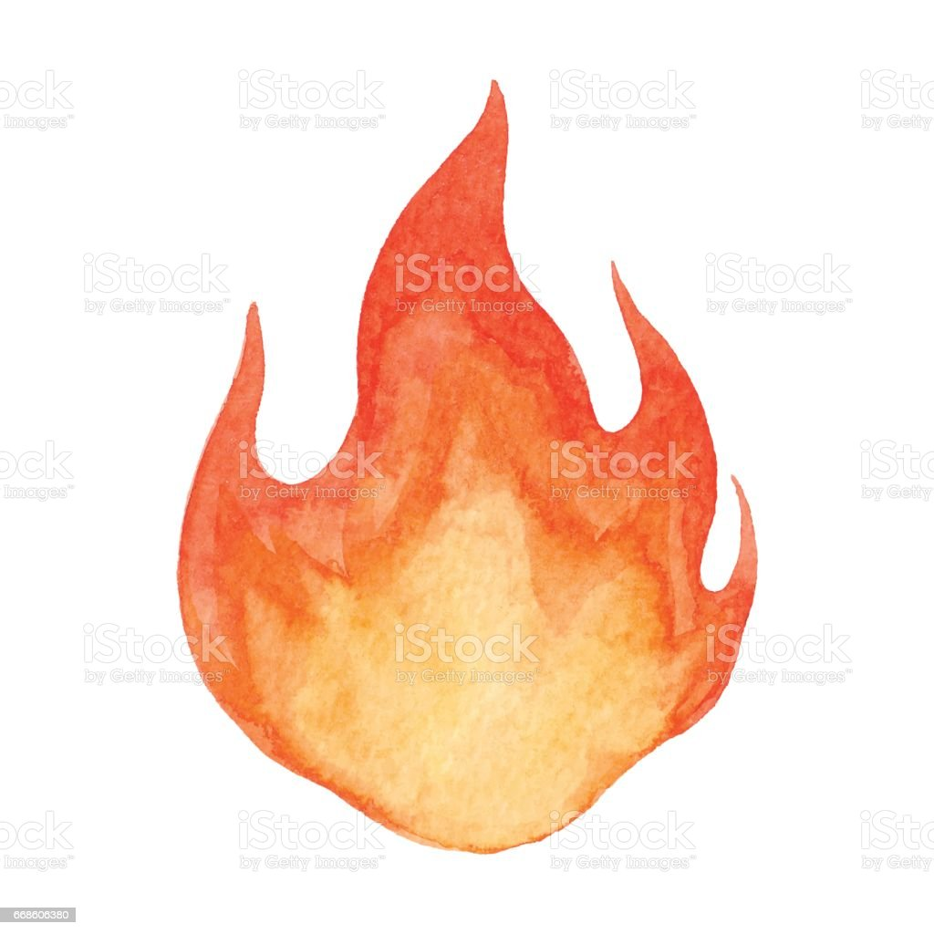 Watercolor Flame vector art illustration