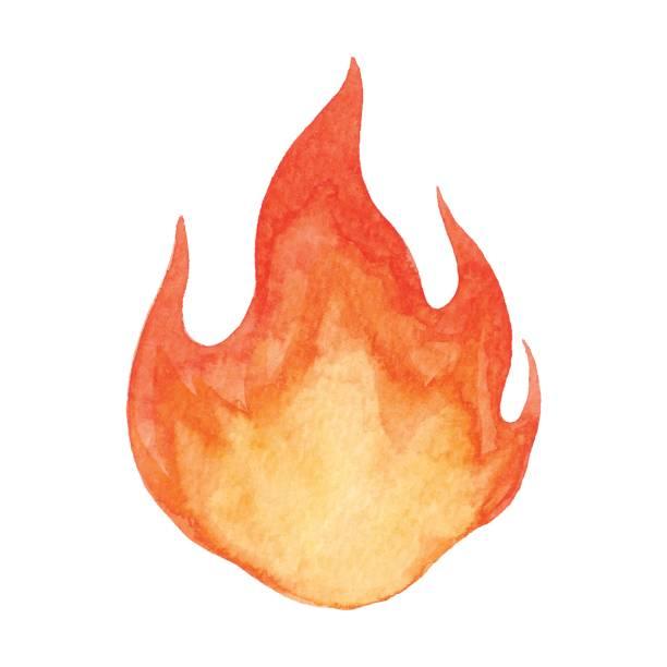 illustrazioni stock, clip art, cartoni animati e icone di tendenza di watercolor flame - falò