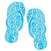 Watercolor flip flop blue sandals