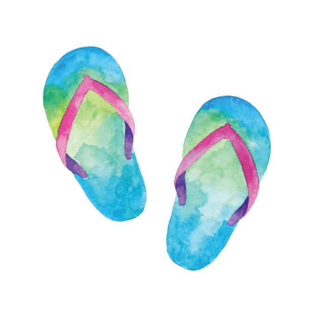 stockillustraties, clipart, cartoons en iconen met watercolor flip flop - slipper