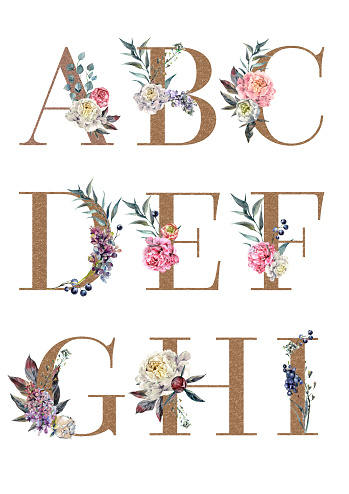 Watercolor Floral Alphabet Isolated Set 1