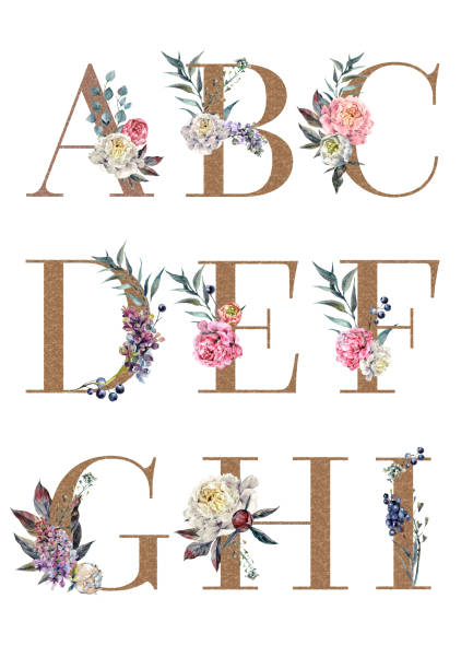 Watercolor Floral Alphabet Isolated Set 1 vector art illustration
