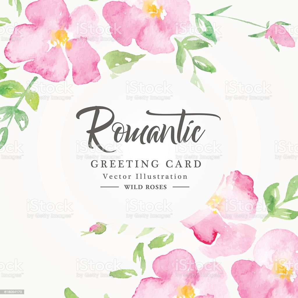 Watercolor floral background with pink wild roses vector art illustration