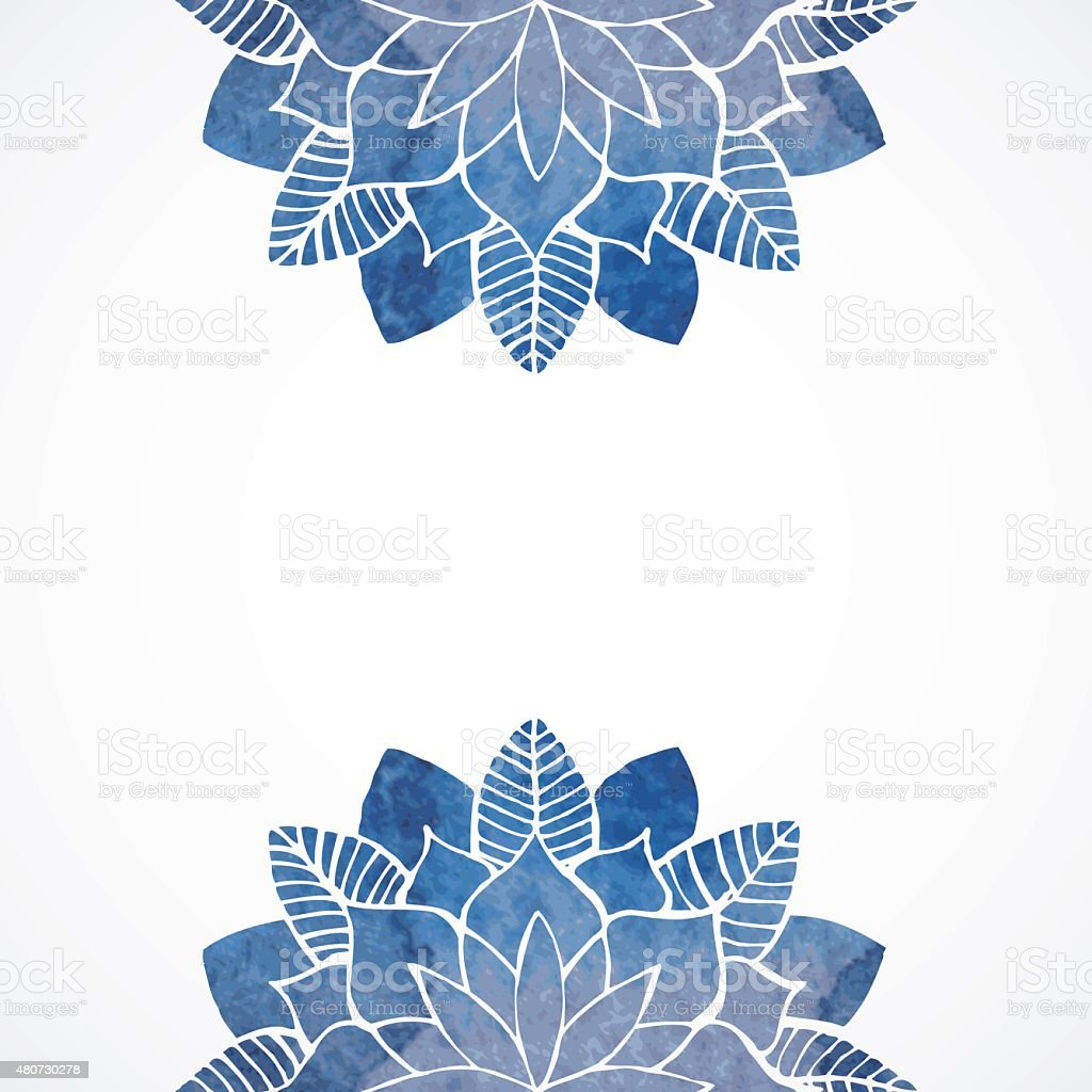Watercolor Floral Blue Pattern On White Background Royalty Free