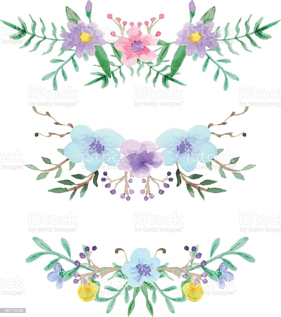 Watercolor Floral Border Set Royalty Free Stock Vector Art Amp
