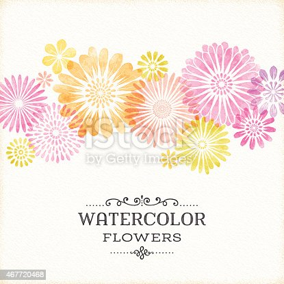 Watercolor floral border on textured paper.EPS 10 file contains transparencies.File is layered with global colors.Only gradients used.Hi res jpeg without text included.More works like this linked below.http://www.myimagelinks.com/Lightboxes/spring_files/shapeimage_2.png