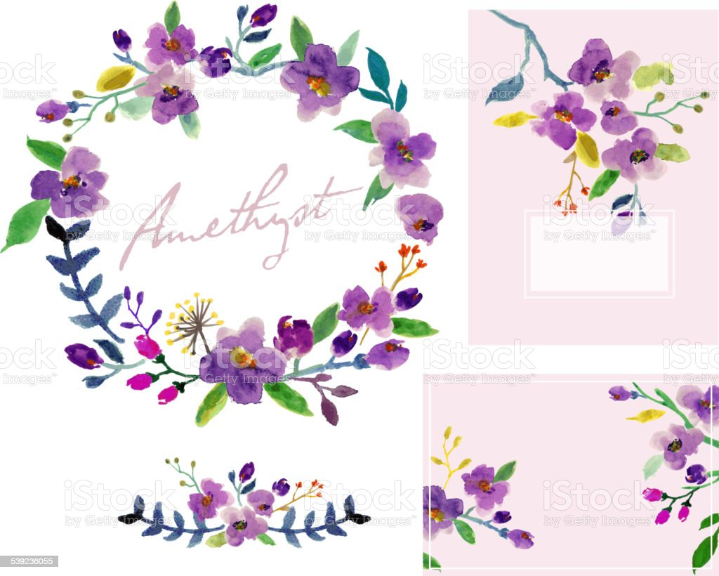 Watercolor Floral Design Set royalty-free watercolor floral design set stock vector art & more images of abstract