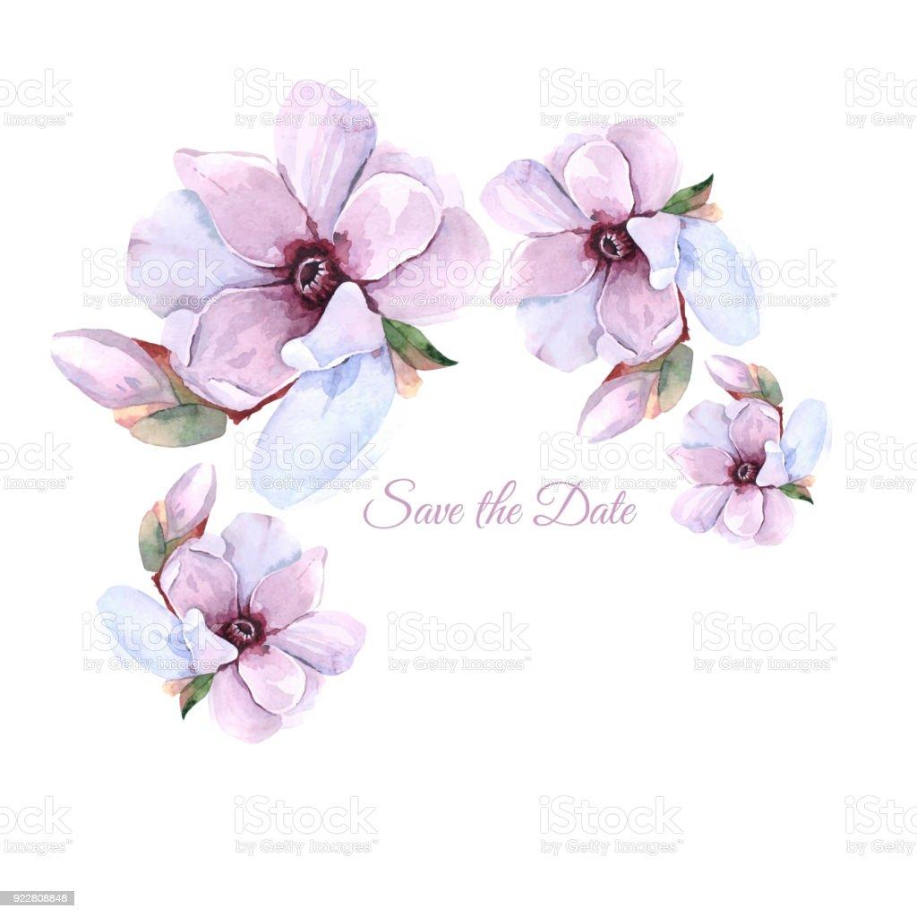 Aquarell Blumenrahmen Schöne Blume Kranz Auf Weißem Hintergrund ...