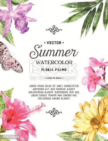 Summer watercolor floral frame with butterfly. File is layered.High res jpeg without text included.More works like this linked below.http://www.myimagelinks.com/Lightboxes/summer_2_files/shapeimage_2.png