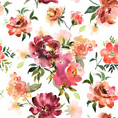Watercolor floral seamless pattern with colorful hand drawn flowers and leaves. Vector roses
