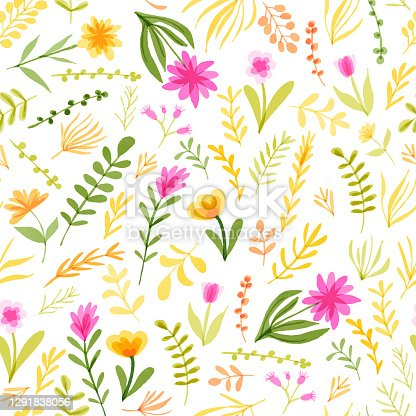 istock Watercolor Floral Seamless Pattern with Delicate Leaves and Berries. Spring Blossom Design for Greeting Cards, Advertising, Banners, Leaflets and Flyers. Botanical Vector Design. Tropical Summer Concept, Design Element. 1291838056