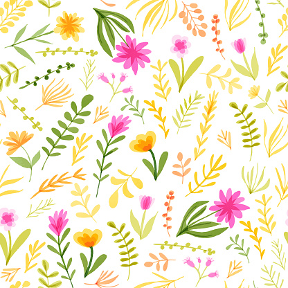 Watercolor Floral Seamless Pattern with Delicate Leaves and Berries. Spring Blossom Design for Greeting Cards, Advertising, Banners, Leaflets and Flyers. Botanical Vector Design. Tropical Summer Concept, Design Element.