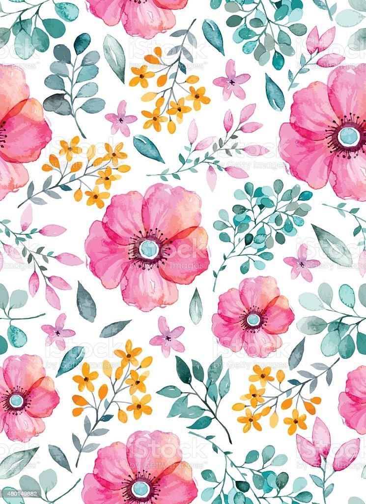 Aquarela floral seamless pattern com flores e leafs. - ilustração de arte em vetor
