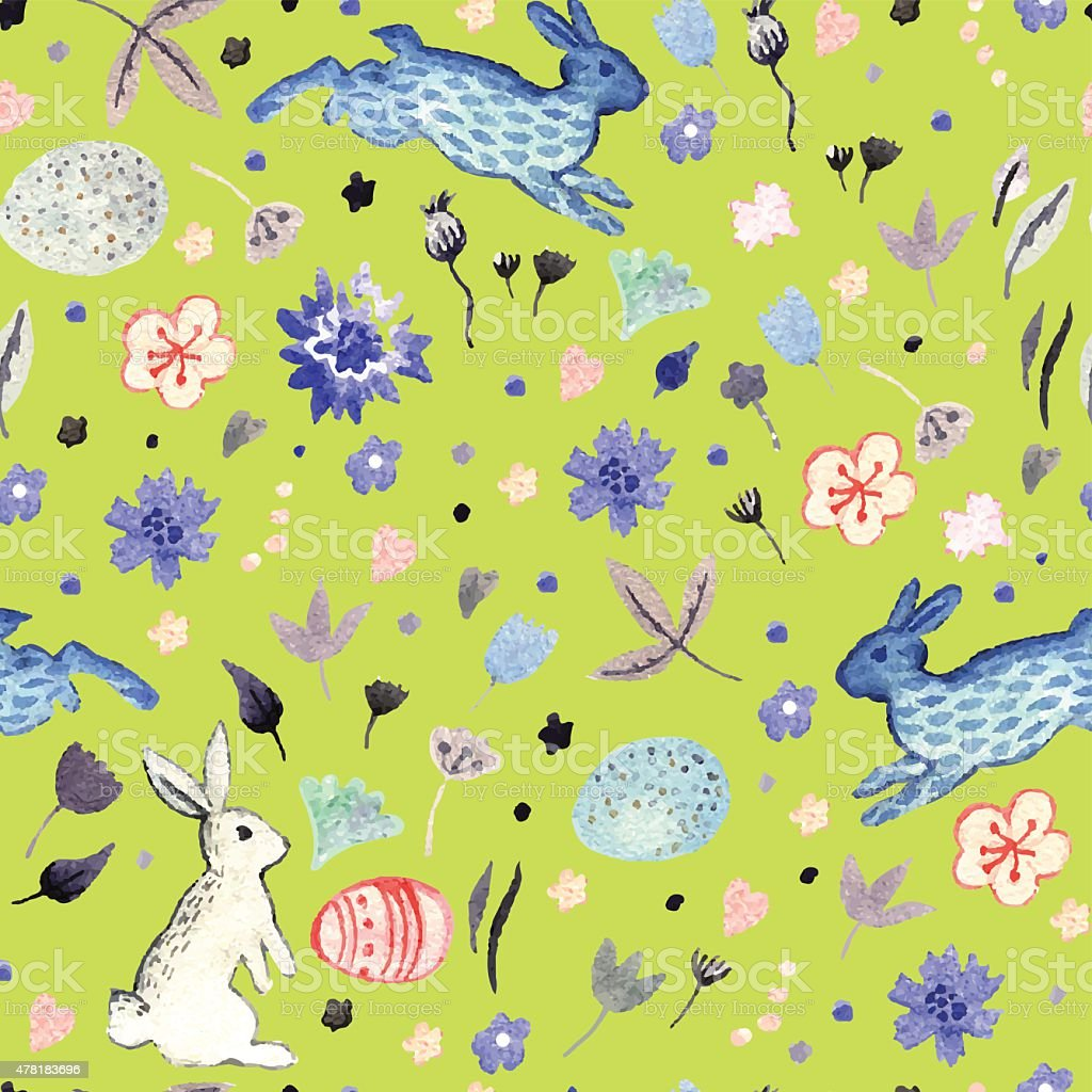 watercolor floral seamless with easter eggs and bunnies stock