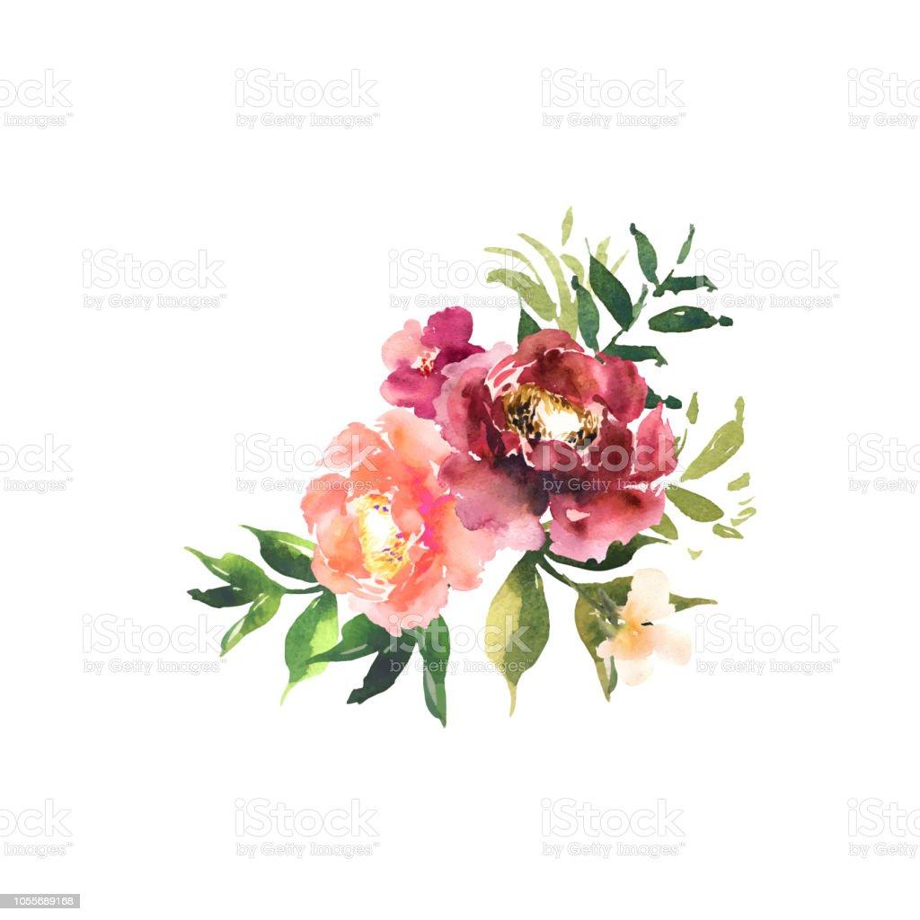 Aquarell Blumen Gesetzt Bouquet Mit Roten Orange Blumen