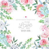 Watercolor floral square vector design frame