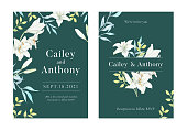 lily flower wedding invitation card with text layout