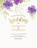 Pretty feminine Watercolor Flowers Wedding or Bridal Shower Invitation Template