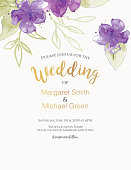 Pretty feminine Watercolor Flowers Wedding or Bridal Shower Invitation Template