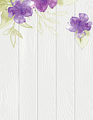 Pretty feminine Watercolor Flowers On Wood Background. Perfect For A Wedding or Bridal Shower Invitation Template