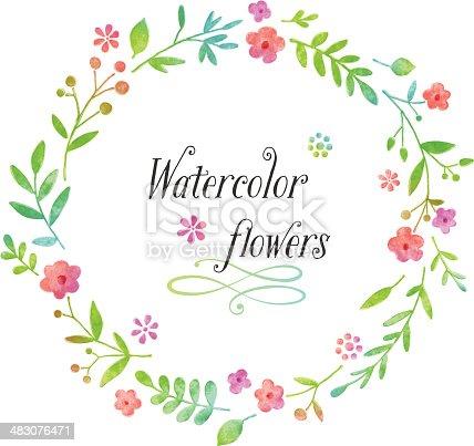 istock Watercolor floral wreath design 483076471