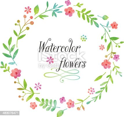 istock Watercolor floral wreath design 483076471