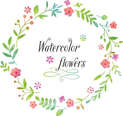 Watercolor floral wreath design