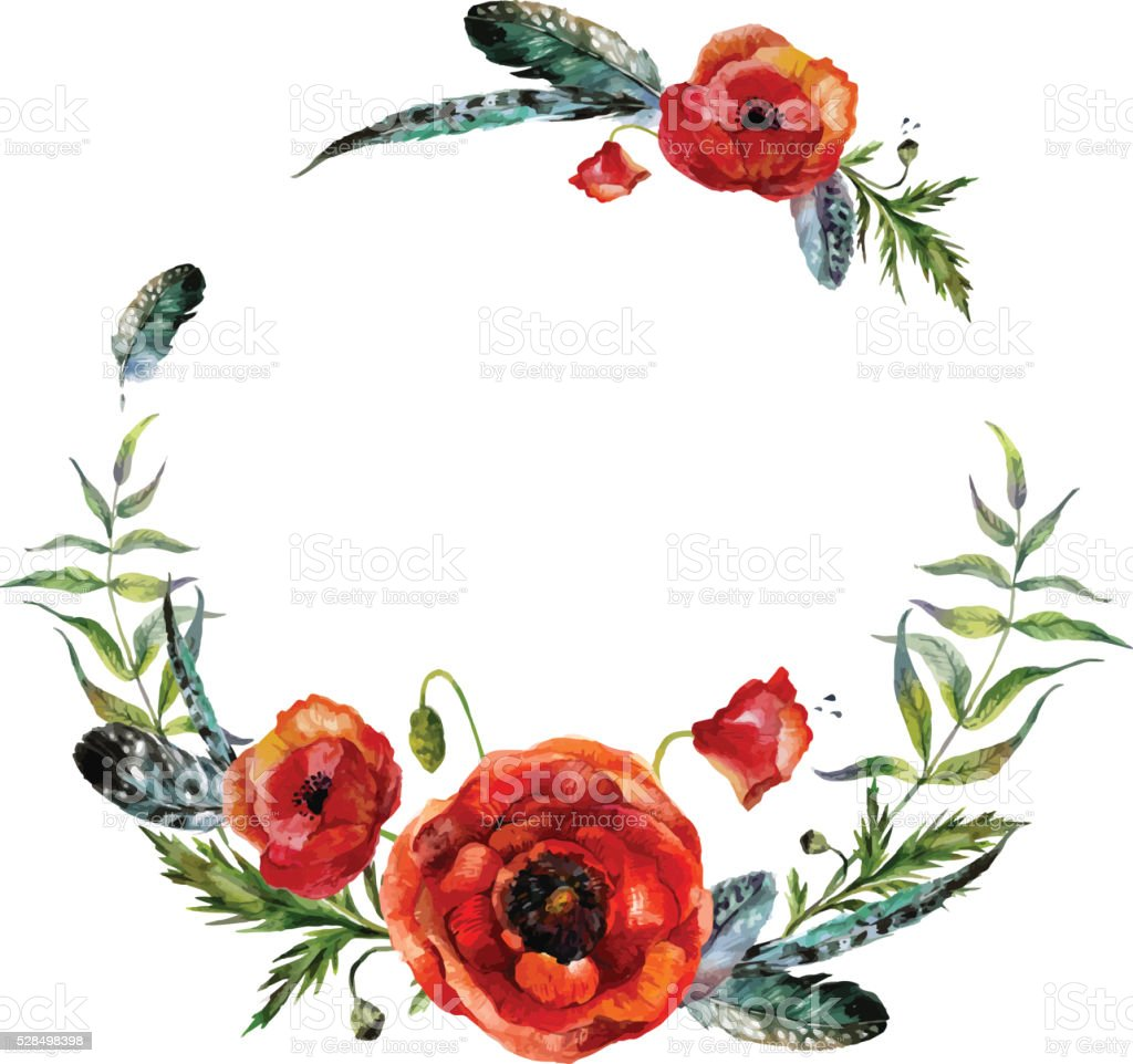 Watercolor floral wreath vector art illustration