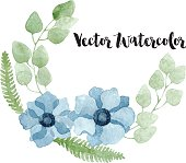 Watercolor floral wreath with blue anemone flowers, eucalyptus, foliage