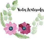 Watercolor floral wreath with burgundy and pink flowers, eucalyptus, foliage