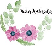 Watercolor floral wreath with pink anemone flowers, eucalyptus, foliage