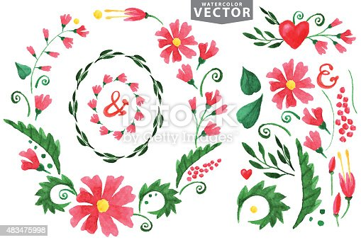 Watercolor floral set.Wreath with Red flowers ,branshes and leaves,floral decor elements .Forinvitation design template.For wedding and Valentine day,all holiday,birthday,Easter.Hand painted Vector.