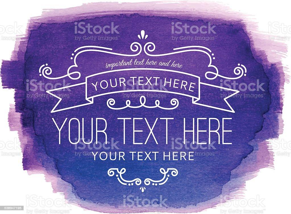 Watercolor Flourish Purple Label vector art illustration