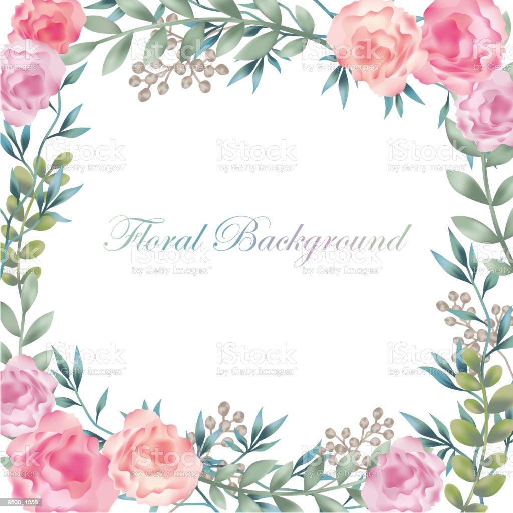 テキスト領域を持つ水彩花背景イラスト - お祝いのベクターアート素材や