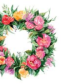 Watercolor flower floral romantic wreath frame illustration isolated vector