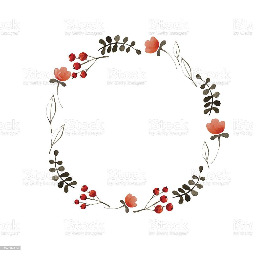 Watercolor flower frame vector art illustration