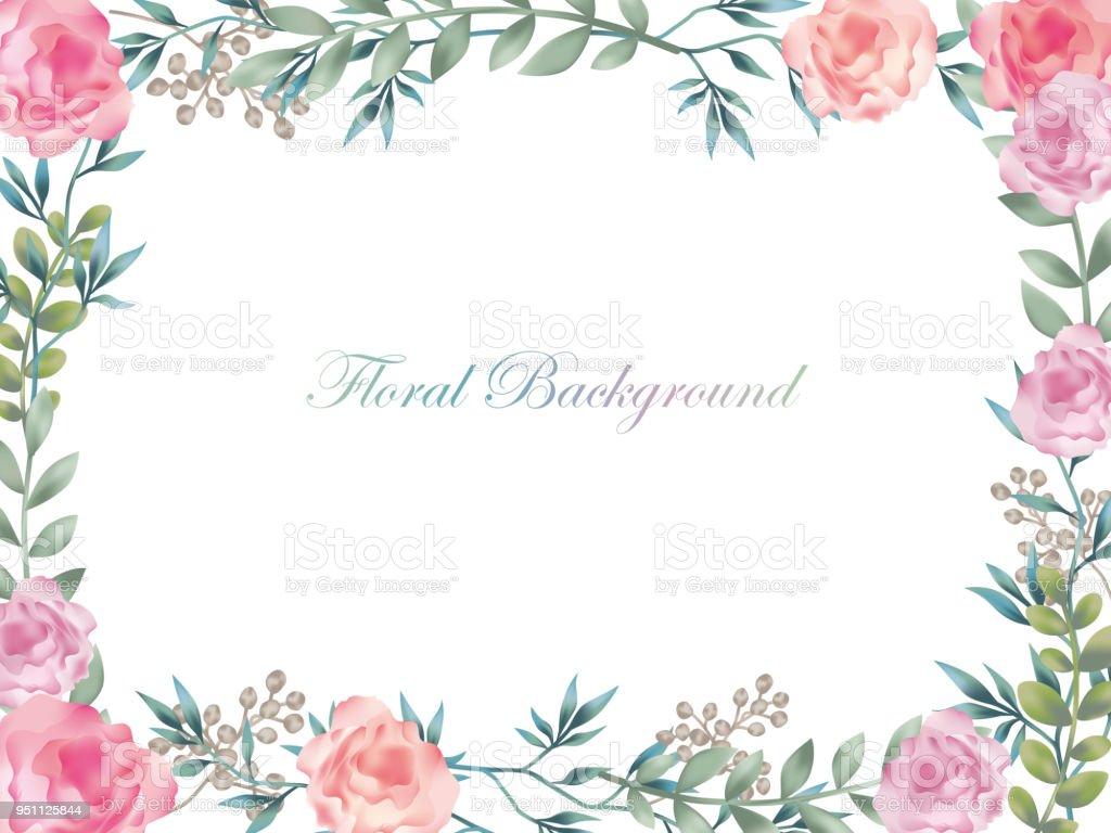 水彩花フレーム/背景テキスト領域を持つ。 ベクターアートイラスト