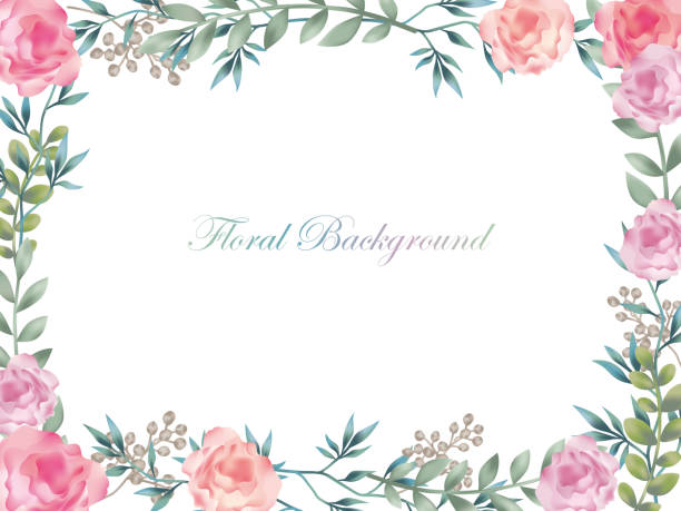 watercolor flower frame/background with text space. - floral borders stock illustrations