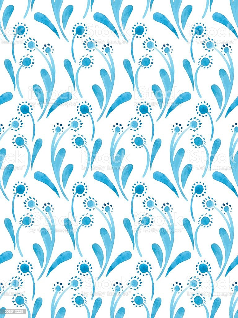 Watercolor flower nature pattern vector art illustration