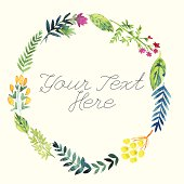 Watercolor floral wreath with place for your text
