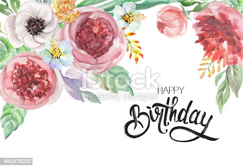"""istock watercolor flowers and lettering """"happy birthday"""" for design card, postcard, textile, flyer 940476202"""